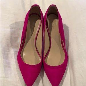 Loeffler Randall pink fur heels